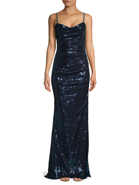 Faviana Sequin Ruched Gown   SaksFifthAvenue