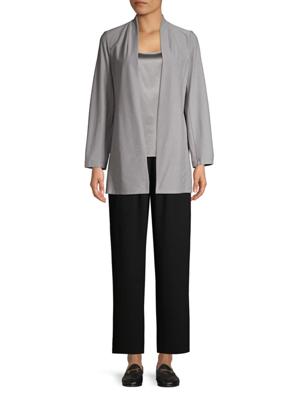 Eileen Fisher Silk Straight-Leg Pants   SaksFifthAvenue
