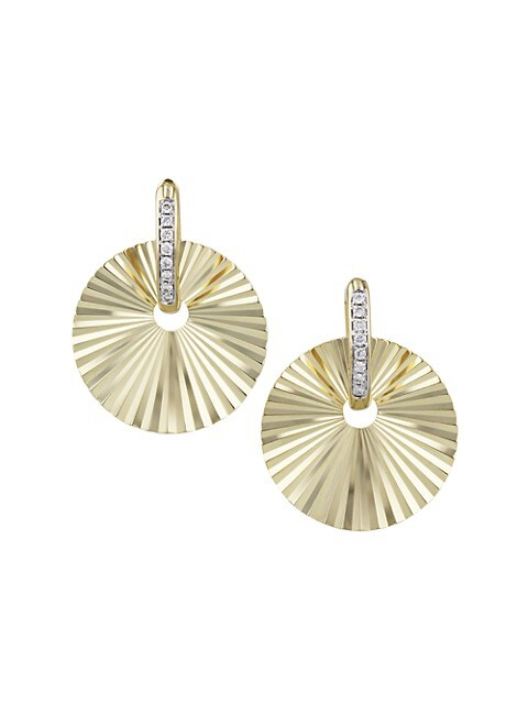 Aura 14K Yellow Gold & Diamond Offset Huggie Hoop Earrings