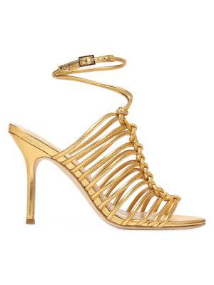 Via Spiga Sandals Paula Knotted Metallic Leather Sandals
