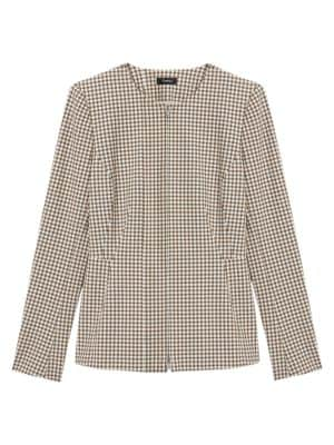 Theory Jackets Check Peplum-Back Jacket