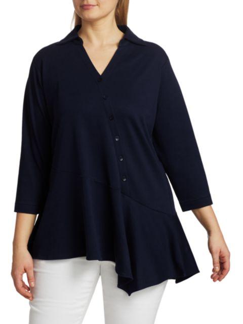 Joan Vass, Plus Size Asymmetrical Button Tunic | SaksFifthAvenue