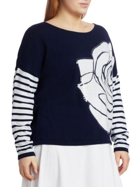 Joan Vass, Plus Size Rose Intarsia Sequin Sweater   SaksFifthAvenue