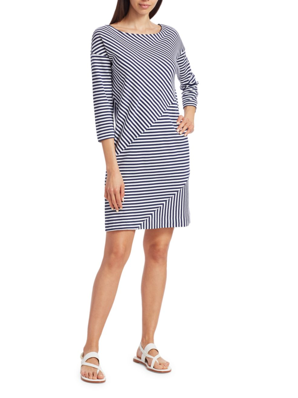 Joan Vass Striped Contrast Mini Dress | SaksFifthAvenue