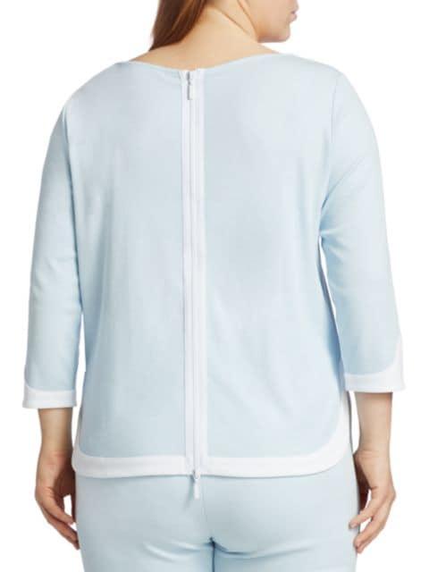 Joan Vass, Plus Size Colorblock Zip-Back Top | SaksFifthAvenue