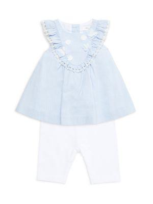 Miniclasix Baby Girl S 2 Piece Floral Butterfly Applique Top Capri Leggings Set Saks Com