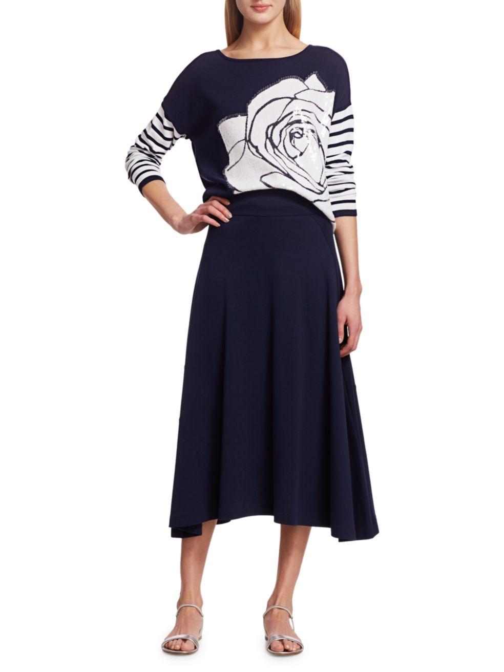 Joan Vass Rose Intarsia Sequin Sweater   SaksFifthAvenue