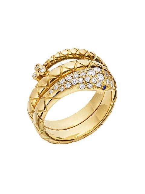 Double Serpent 18K Yellow Gold & Diamond Ring