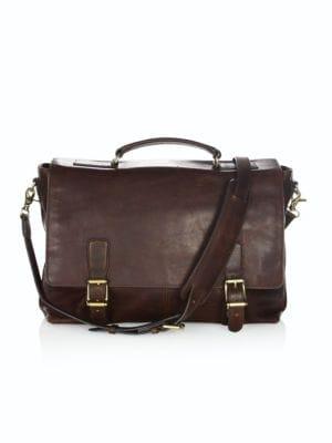 Frye Men's Logan Top-handle Soft Leather Briefcase In Dark Brown