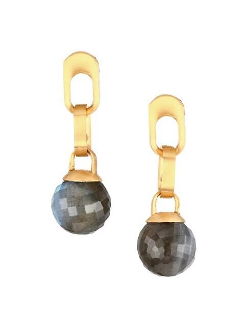 Manhattan 22K Yellow Goldplated & Labradorite Drop Earrings