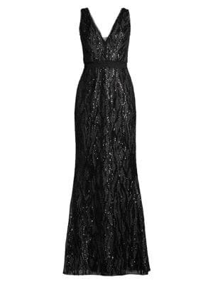 Basix Black Label Sequin V-Neck Trumpet Gown