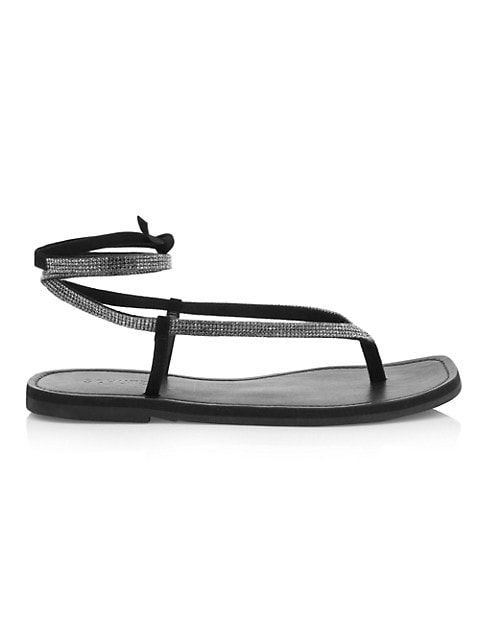 Abdula Crystal & Leather Wraparound Flat Sandals