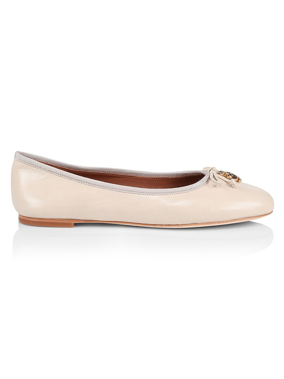 Tory Burch WOMEN'S TORY CHARM LEATHER BALLET FLATS
