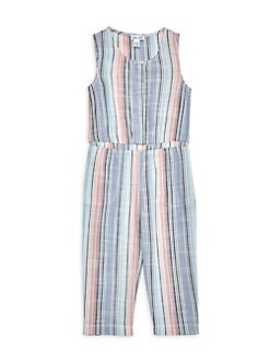 NWT Girls CATIMINI Micro Stripe Short Jumpsuit Dress w// Floral Embroidery 12 Mos