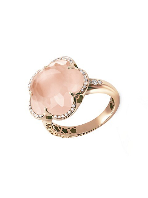 Bon Ton 18K Rose Gold, Rose Quartz & Diamond Ring