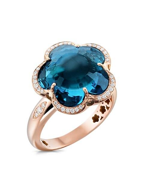 Bon Ton 18K Rose Gold, Topaz & Diamond Ring