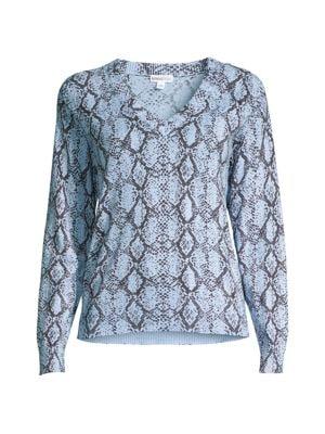 Minnie Rose Women's Python V-neck Sweater In Faded Denim