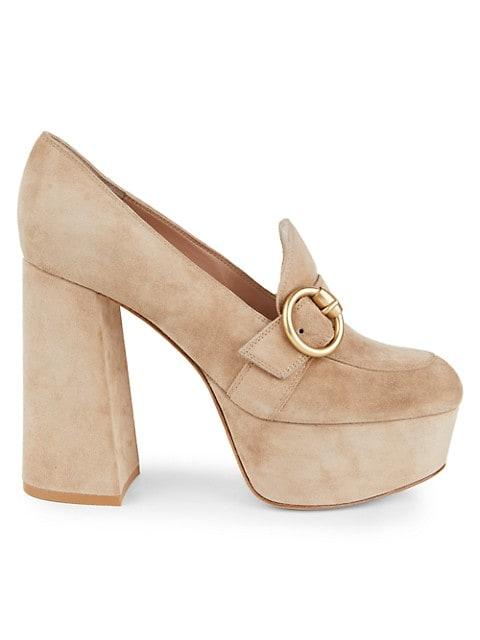 Louise Block-Heel Suede Platform Loafers