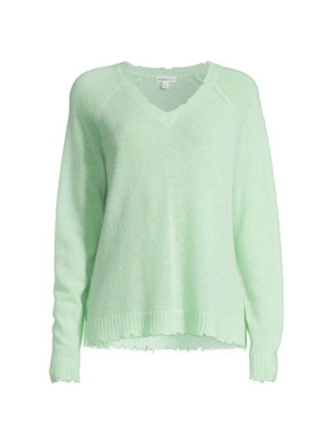 Minnie Rose Cashmere Distressed Sweater   SaksFifthAvenue
