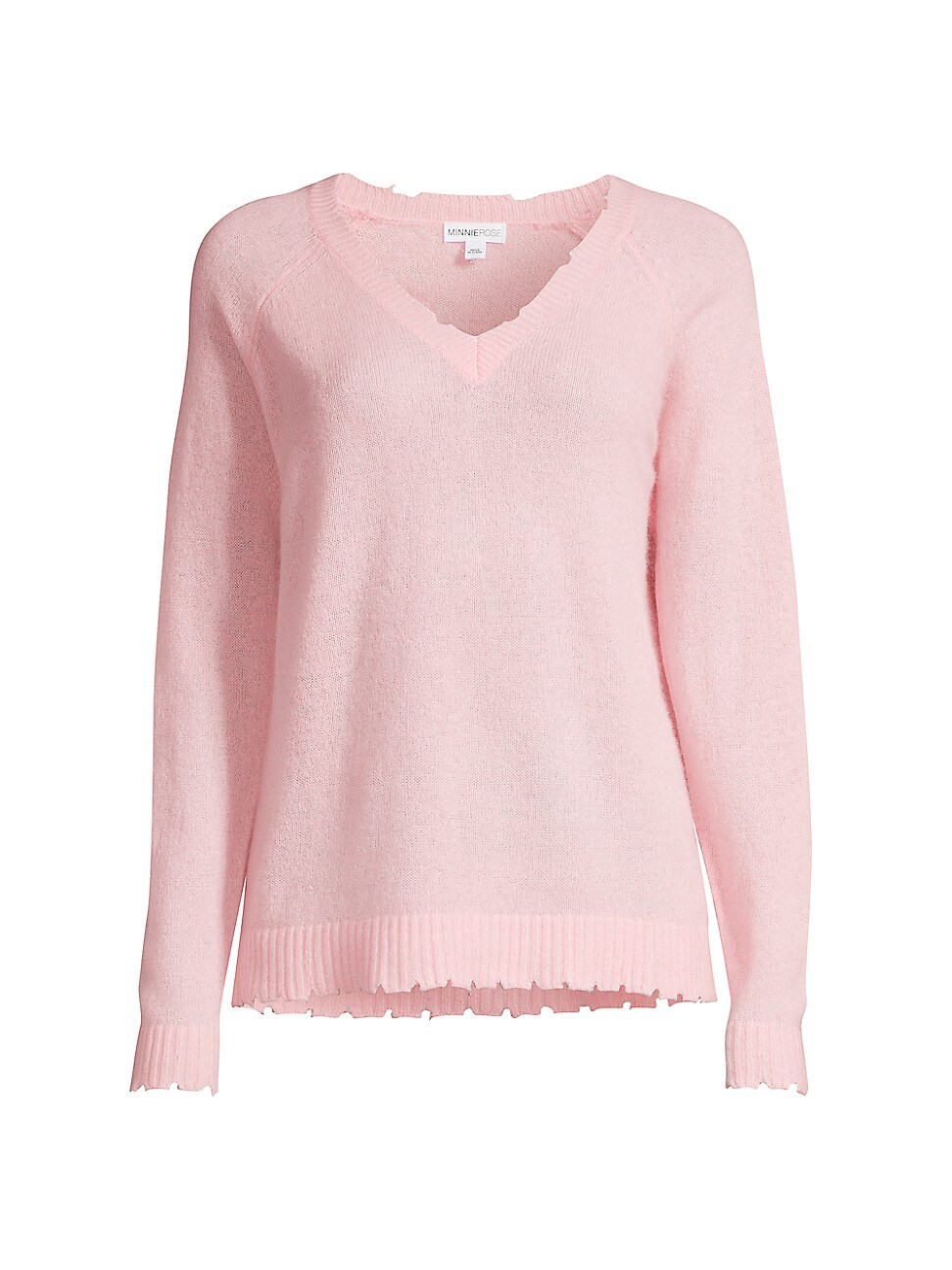 Minnie Rose WOMEN'S CASHMERE DISTRESSED SWEATER