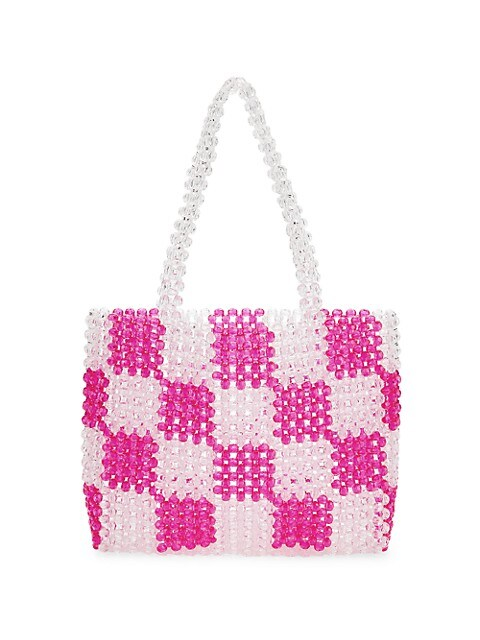 Check Beaded Handbag