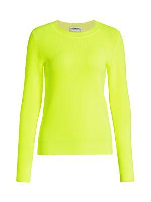 Essentiel Antwerp Women's Valaire Rib-knit Sweater In Fluorescent Yellow