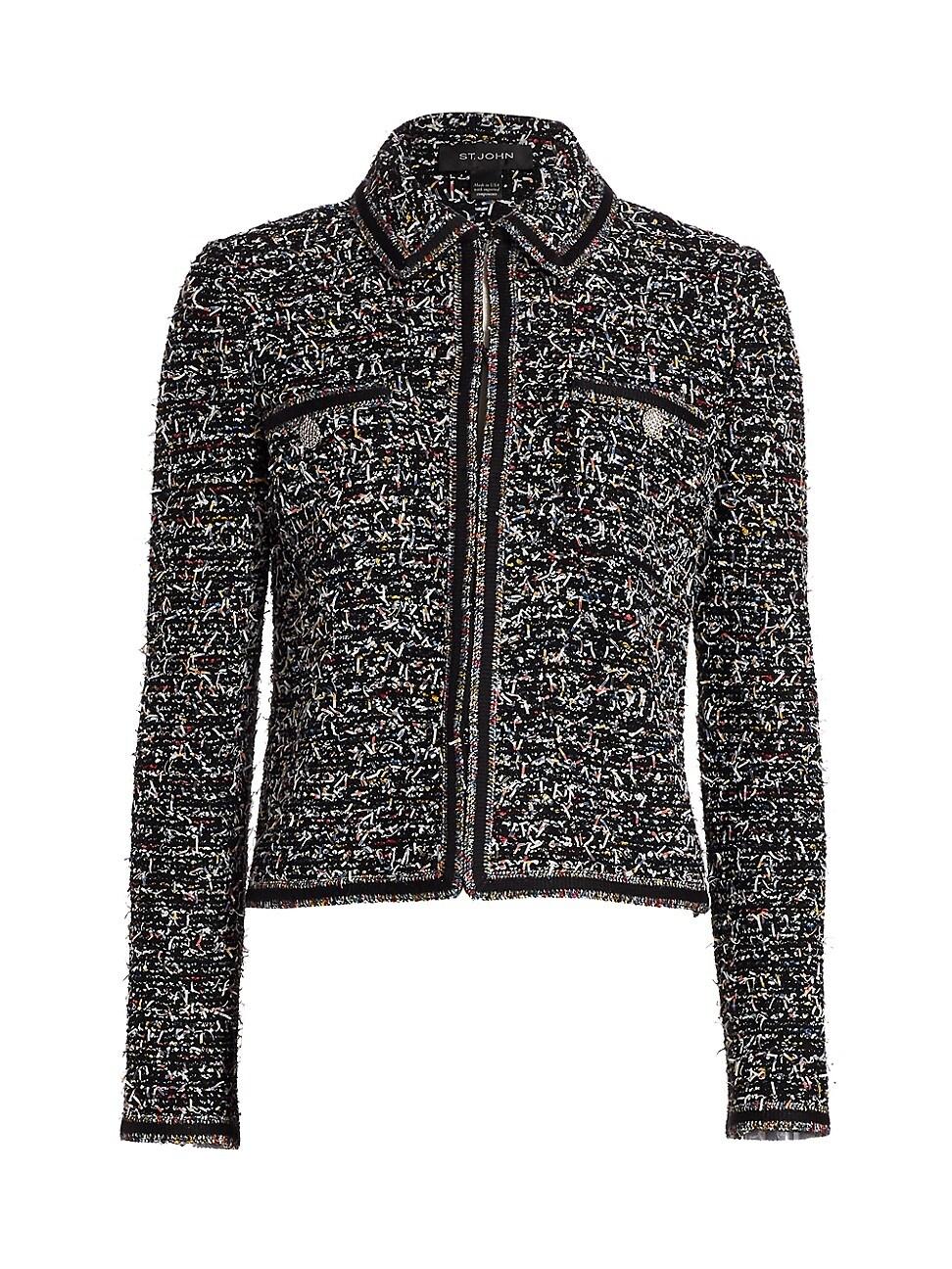 St. John Women's Kaleidoscope Wool-blend Tweed Jacket In Caviar Multi
