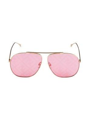 Fendi Women's 64mm Aviator Logo Sunglasses In Pink