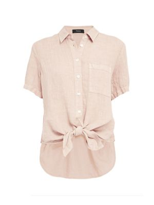 Theory Women's Hekanina High-low Linen Blouse In Pale Pink