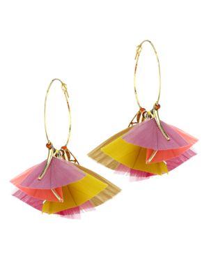 Gas Bijoux Women's Marly 2-piece 24k Gold Feathered Hoop Earrings In Pink