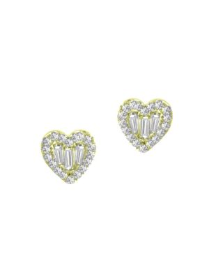 Meira T Women's 14k White Gold & Diamond Heart Stud Earrings