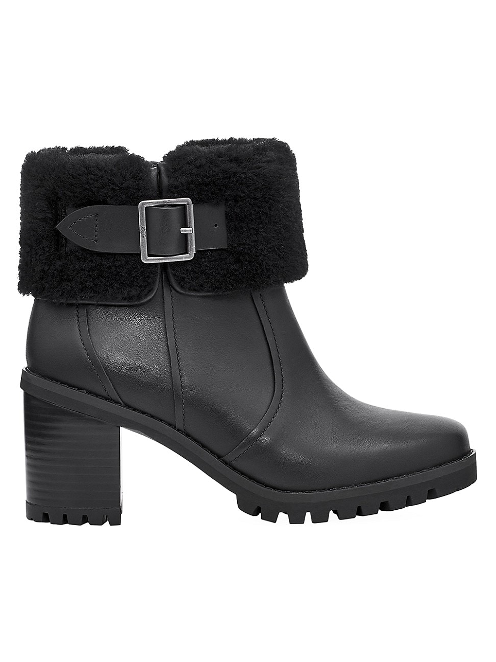 Ugg WOMEN'S ELISIANA FAUX FUR-TRIMMED LEATHER BOOTS