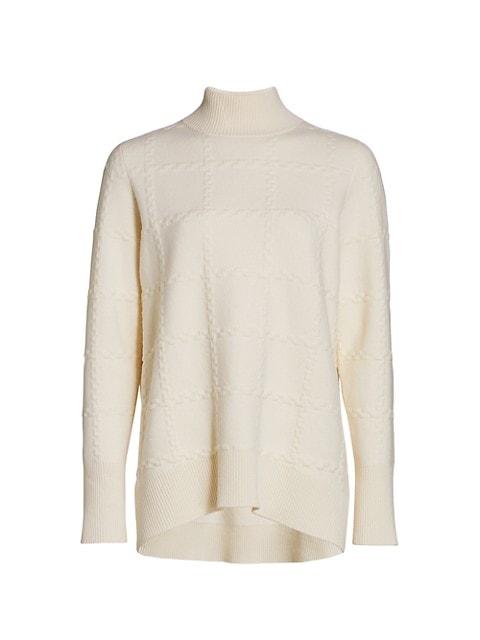 Tonal Check Wool & Cashmere Turtleneck Sweater