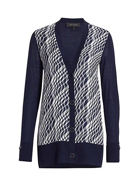 Plissé Plaid Wool & Silk Cardigan
