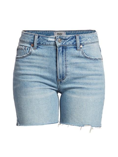 Sarah Longline Raw-Hem Denim Shorts