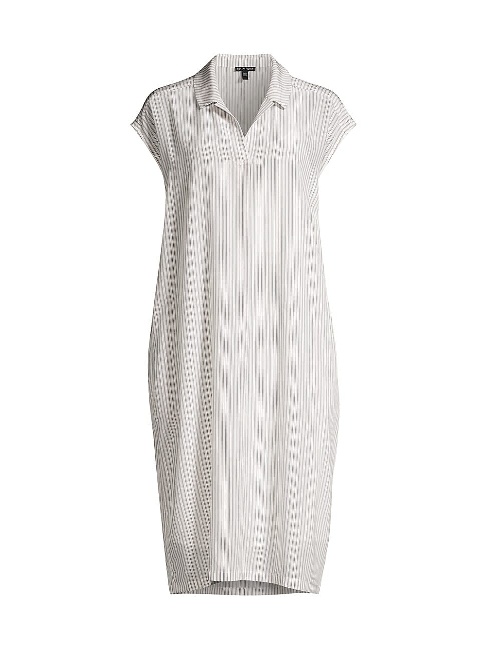 EILEEN FISHER WOMEN'S STRIPED COLLARED SILK DRESS