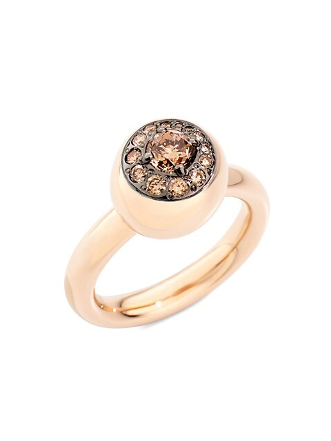 Nuvola 18K Rose Gold Ring & Brown Diamond Ring