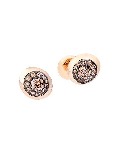 Pomellato Nuvola 18k Rose Gold Brown Diamond Stud Earrings Saksfifthavenue