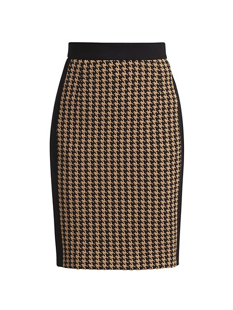Houndstooth Jersey Pencil Skirt