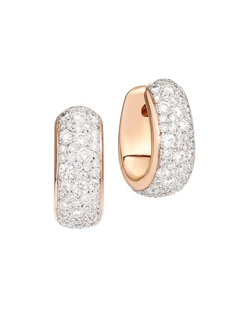 Iconica 18K Rose Gold & Diamond Huggie Hoop Earrings