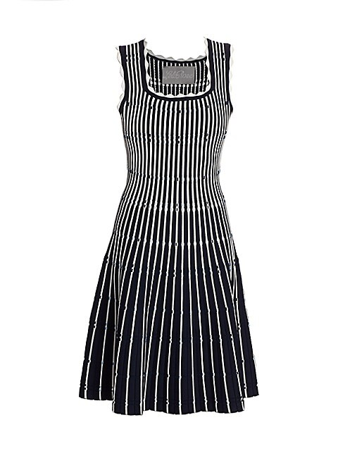 Two-Tone Pinstripe Scalloped Knit Fit-&-Flare Dress
