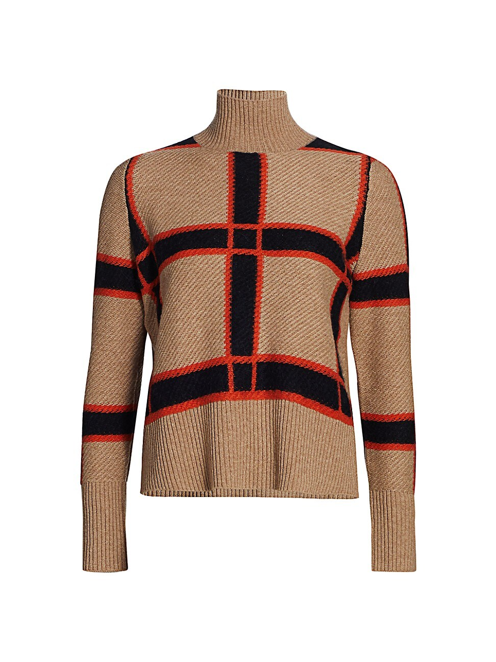 Akris Punto WOMEN'S PLAID WOOL-BLEND KNIT TURTLENECK SWEATER