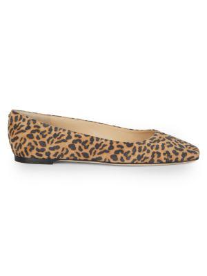 JIMMY CHOO Mirele Leopard-Print Leather Ballet Flats