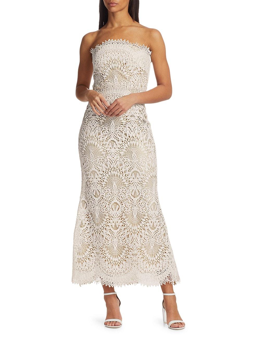 Badgley Mischka Lace Strapless Mermaid Dress