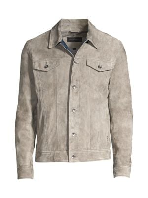 John Varvatos Men's Steven Suede Trucker Jacket In Pebble Grey