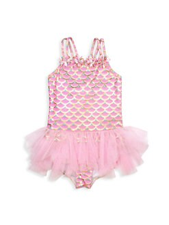 Kate Mack Girls Pom Party Tutu Swimsuit