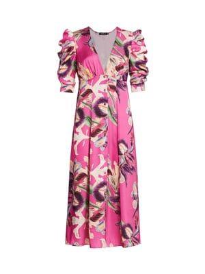 Patbo Grace Floral Puff-Sleeve Midi Dress