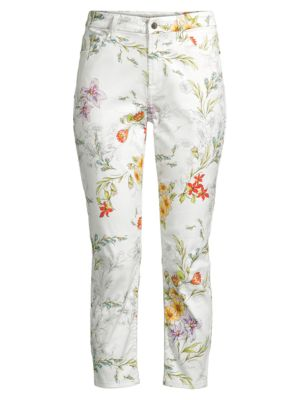 Floral Skinny Cropped Jeans