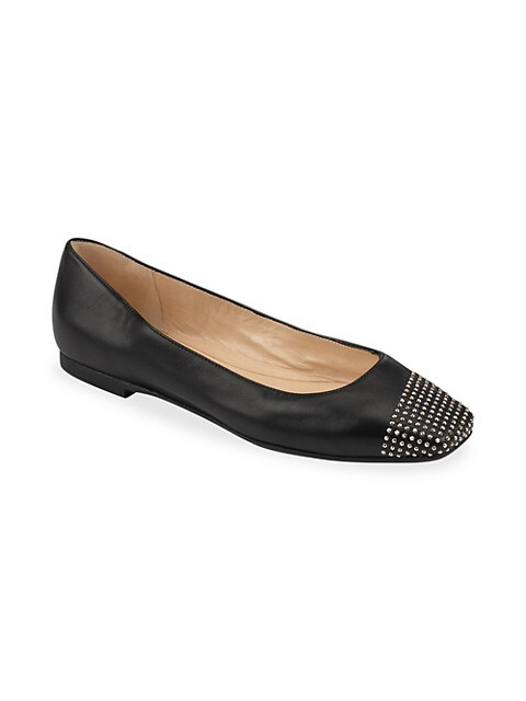 Davia Square-Toe Studded Leather Ballet Flats