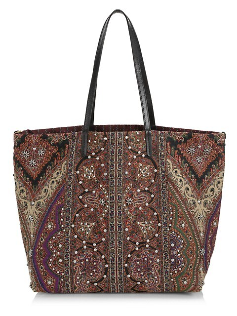 East West Reversible Studded Paisley Tote